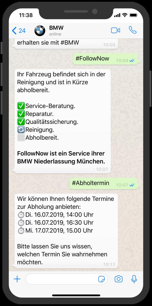 WhatsApp Business Beispiele: BMW