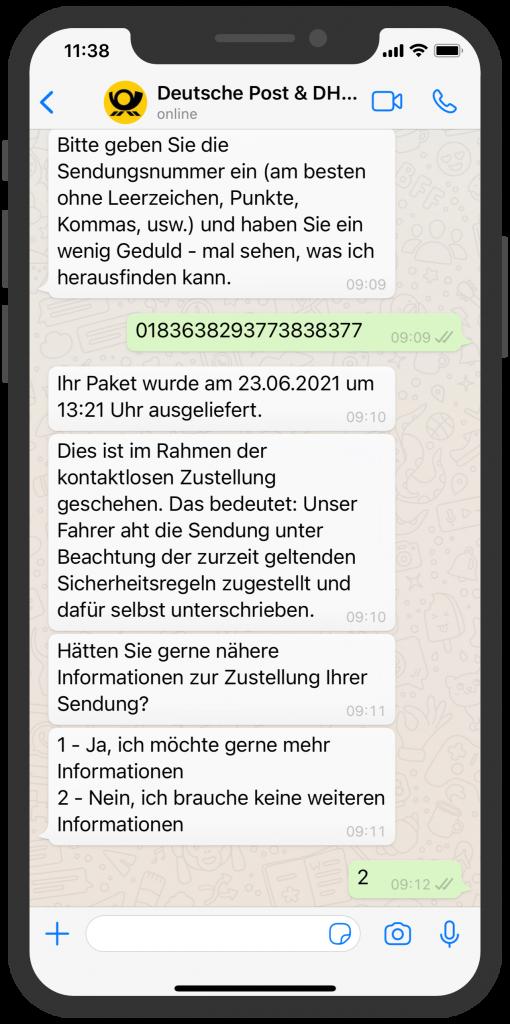 WhatsApp Business Beispiele: Deutsche Post & DHL