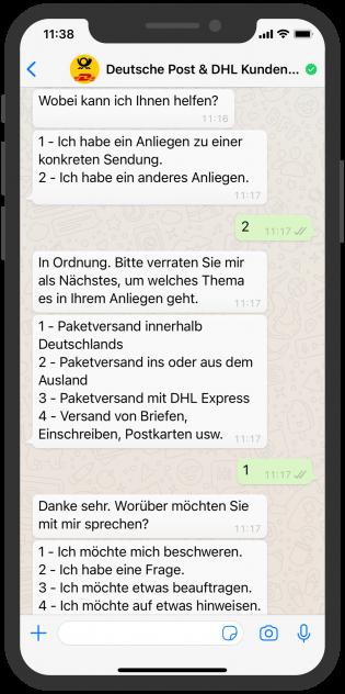 WhatsApp Paketverfolgung bei DHL