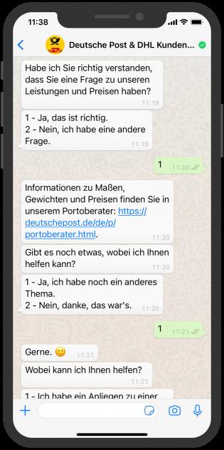 WhatsApp Paketverfolgung WhatsApp Post Chat
