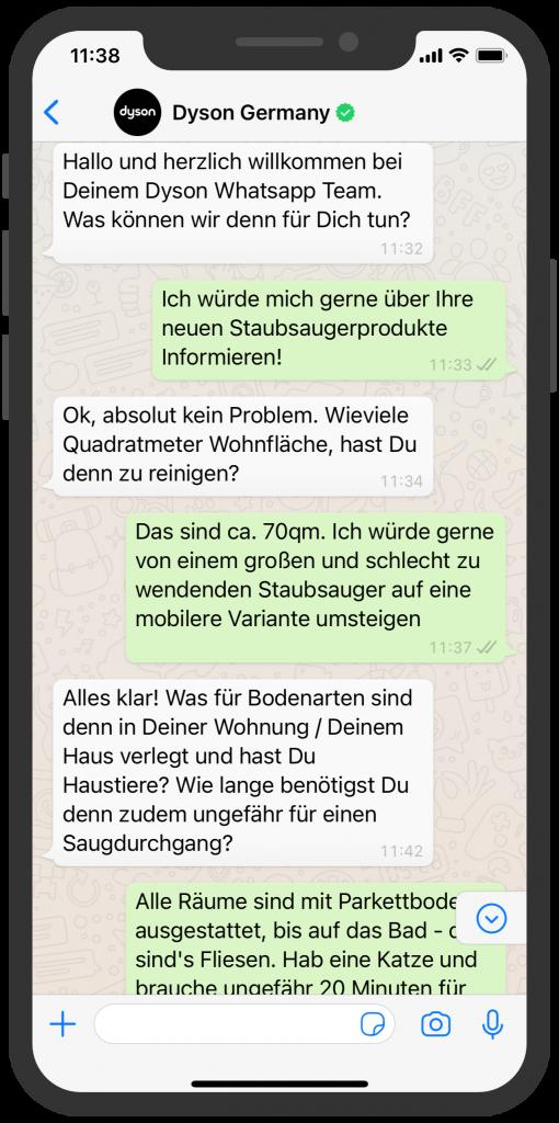WhatsApp Business Beispiele: Dyson