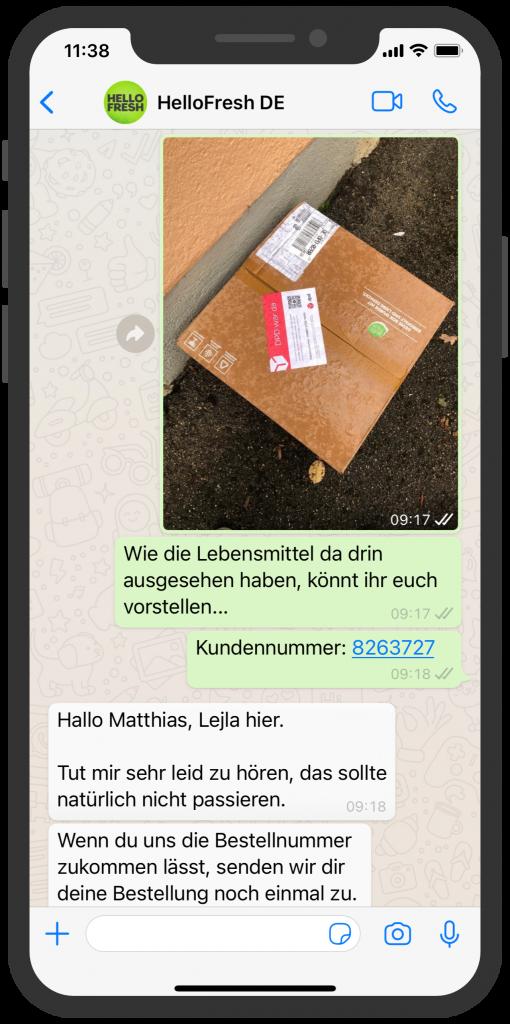 WhatsApp Business Beispiele: Hello Fresh