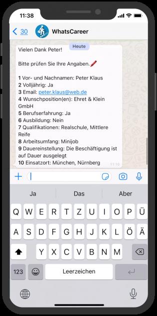 hr whatsapp chatbot whatscareer