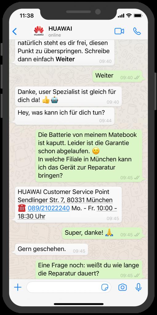 WhatsApp Business Beispiele: HUAWEI