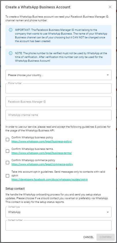 screenshot onboarding whastapp business account
