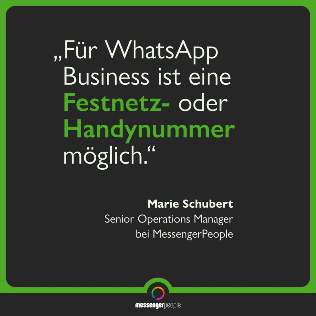 WhatsApp Business Festnetz Telefonnummer