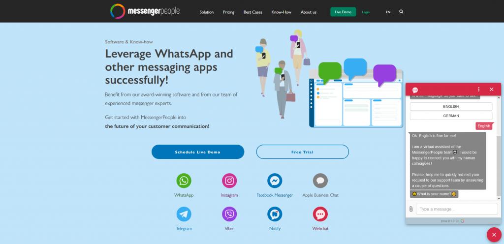 webchat screenshot messengerpeople