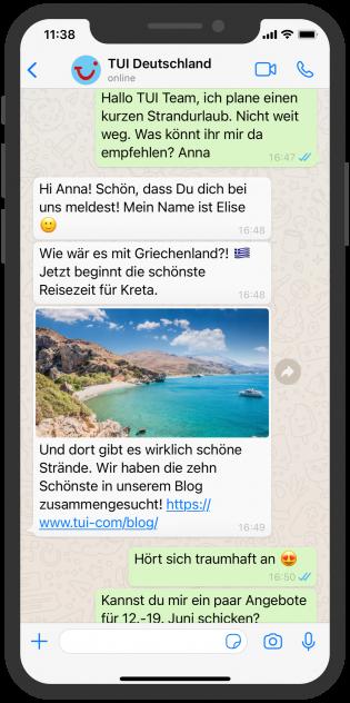WhatsApp business beispiel: TUI Deutschland
