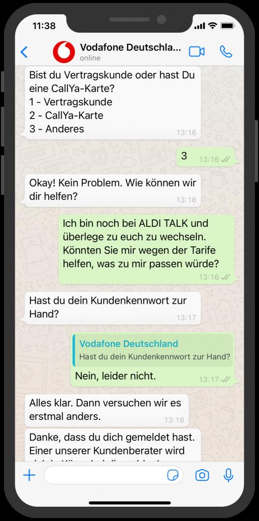 WhatsApp Business Beispiele: Vodafone